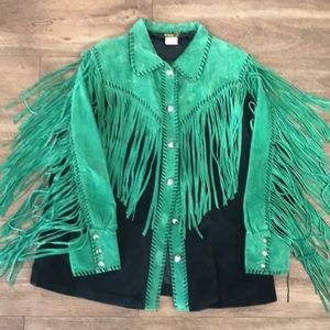 Bob Mackie suede fringe jacket 1X